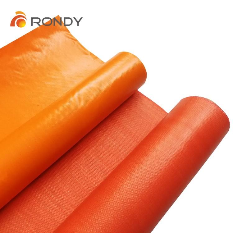 Orange PVC fire retardant tarpaulin coated fiberglass fabric cloth